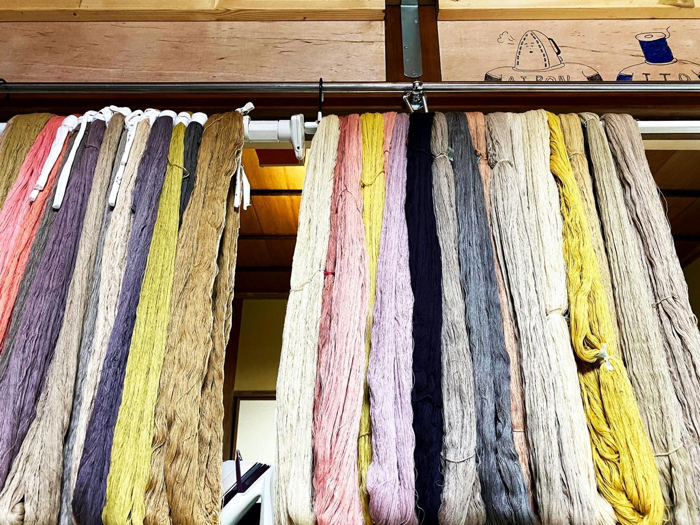 温泉染めの糸